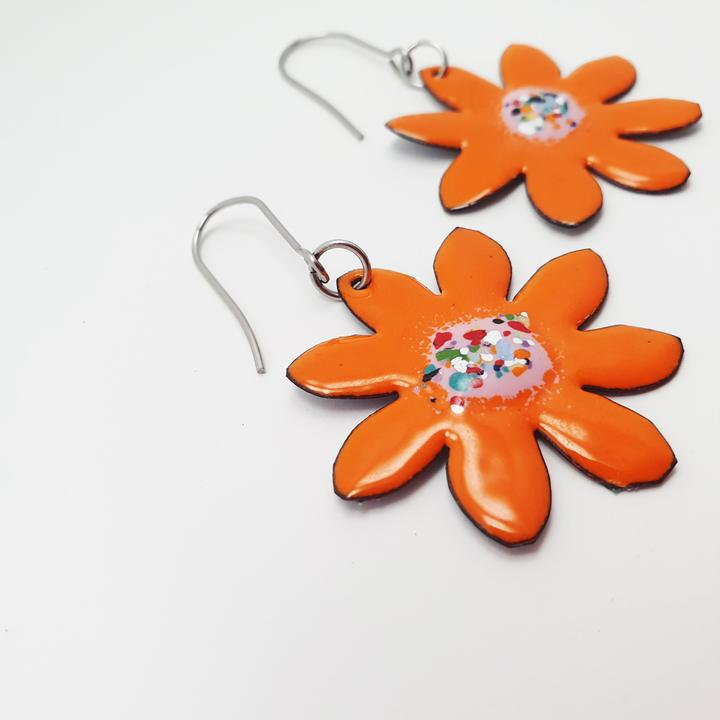 DENZ | Enamel Orange Flower Earrings