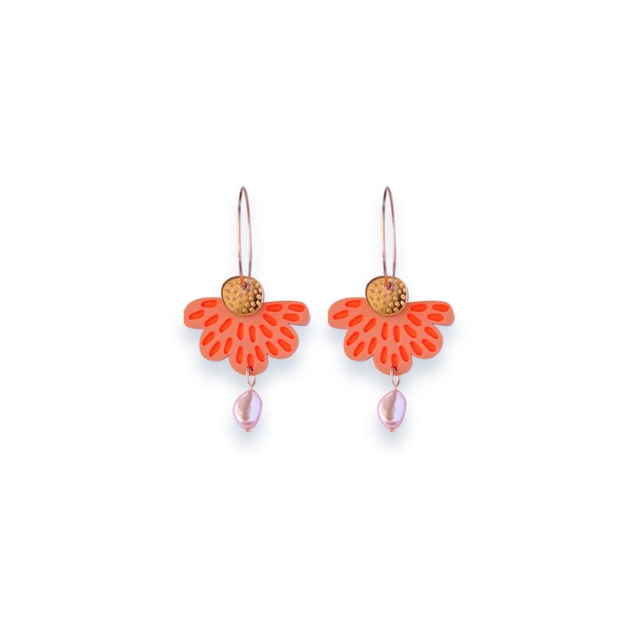 Concrete Jellyfish | ORANGE | Petal and Pearl Hoop