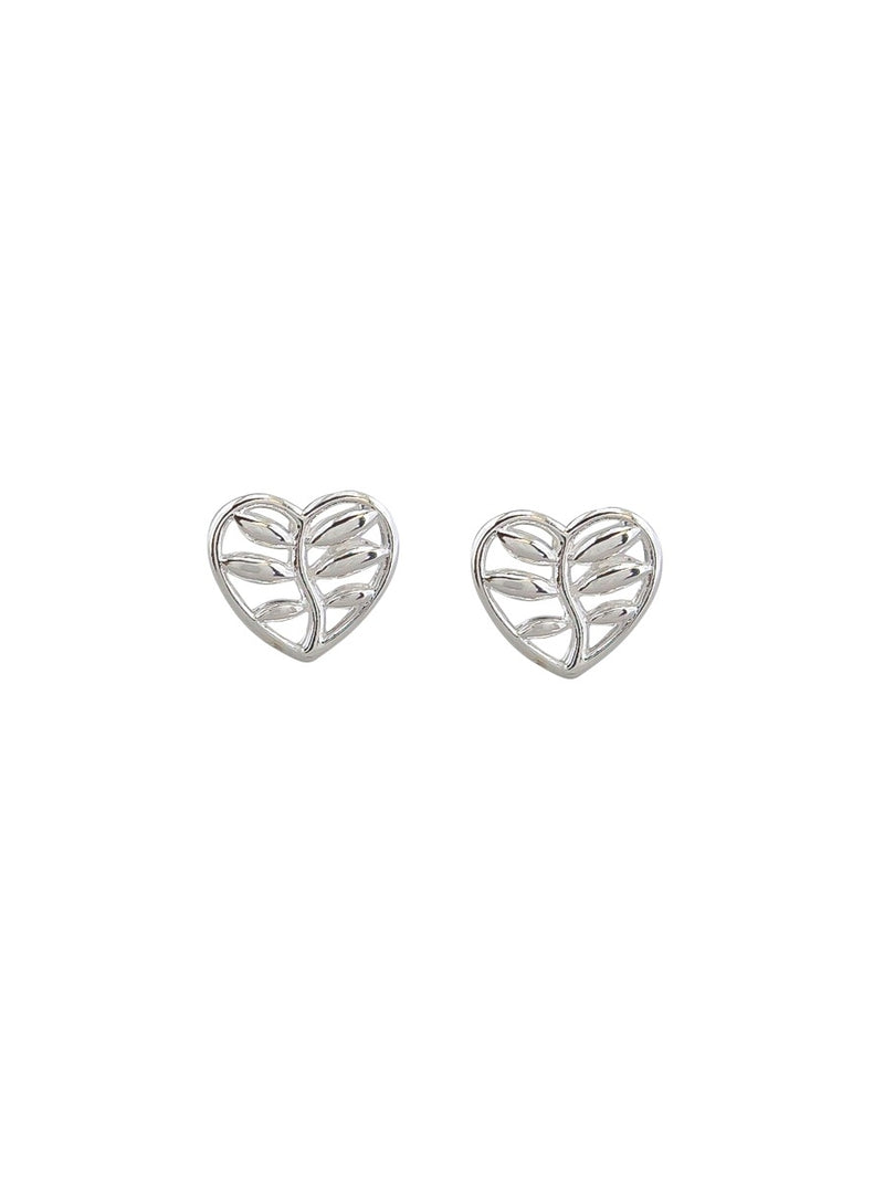 Tiger Tree Silver Heart Leaf Studs