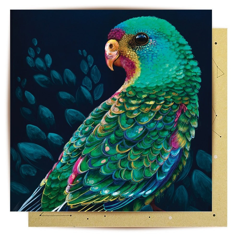 La La Land Greeting Card Swift Parrot