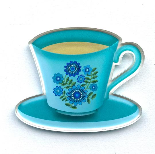 Smyle Designs | Blue Teacup Brooch