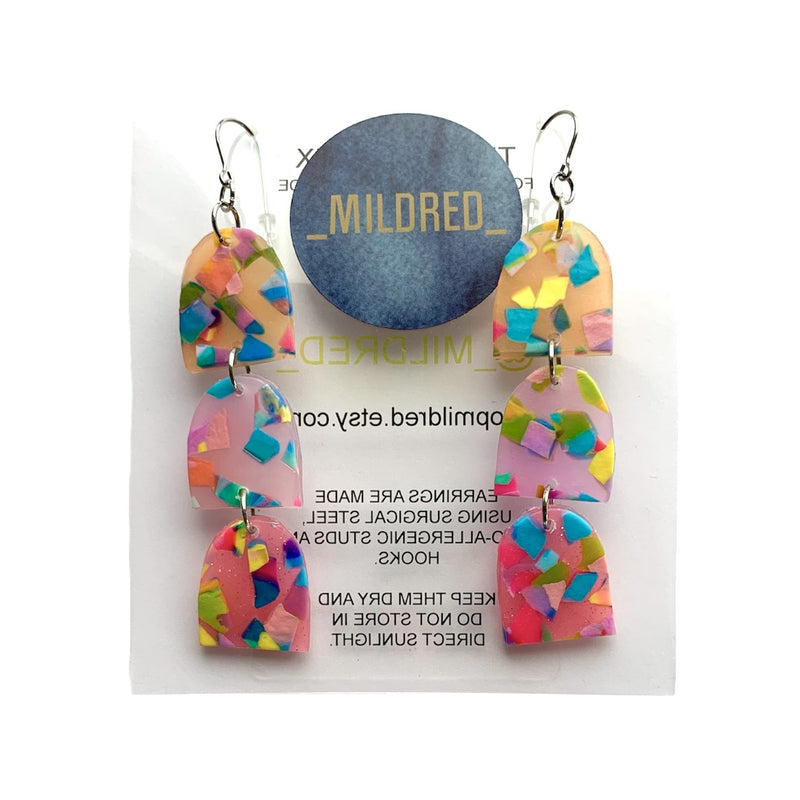 Mildred | terrazzo pink earrings