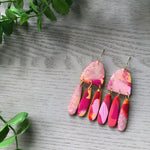 Little Red Head | blue, gold and black mega dangles