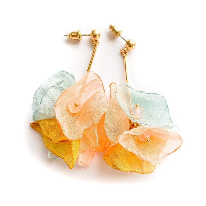 TID Silk bloom earrings | blue/pink