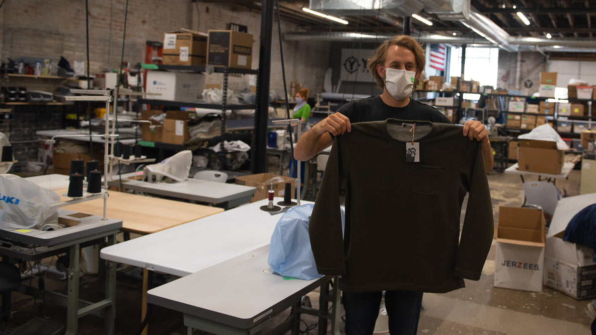 MuskOx Men's Apparel, Mad in the USA Sweatshirt. Made in Detroit Sweatshirt. Photo taken at Softgoods Detroit