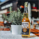 PICTURE OF A CORONA BEER BOTTLE SITTING ON A TABLE WITH A PLANT