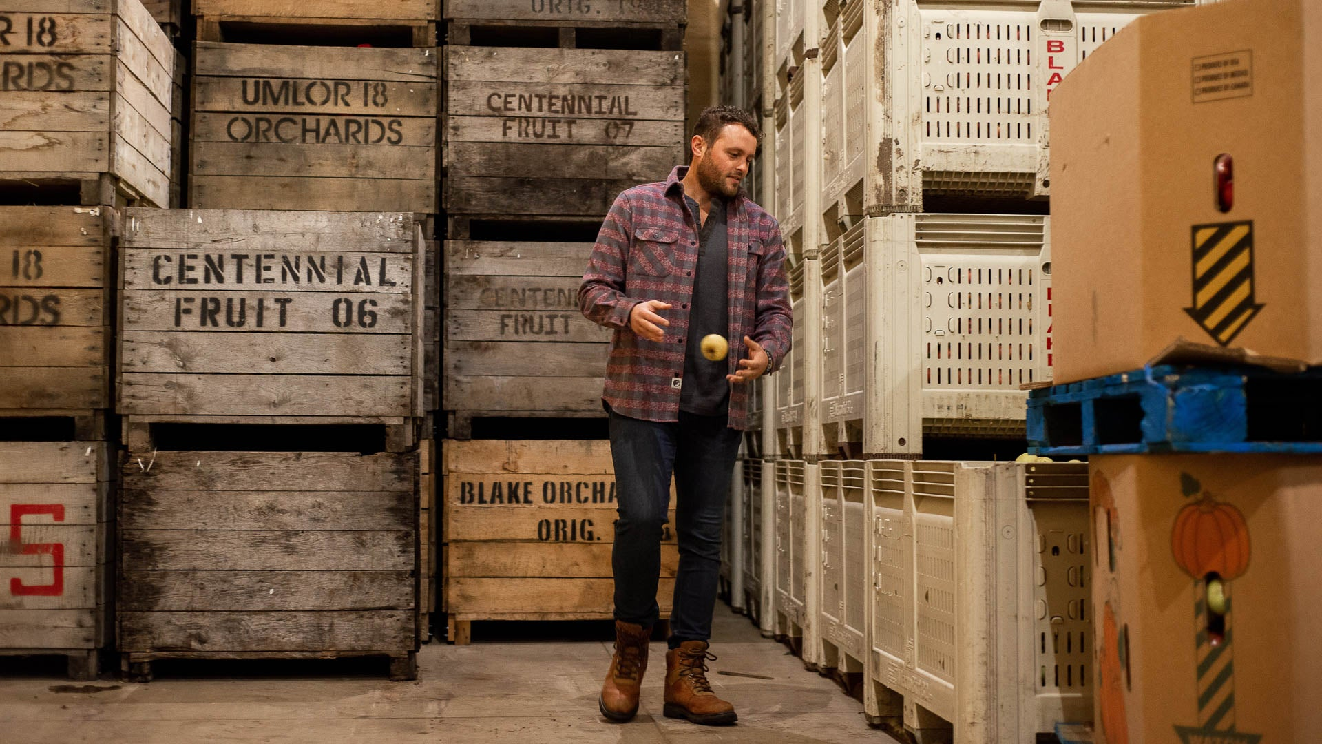 Image at Blake's Cider Mill, Andrew Blake in a MuskOx apparel Heavyweight Flannel.