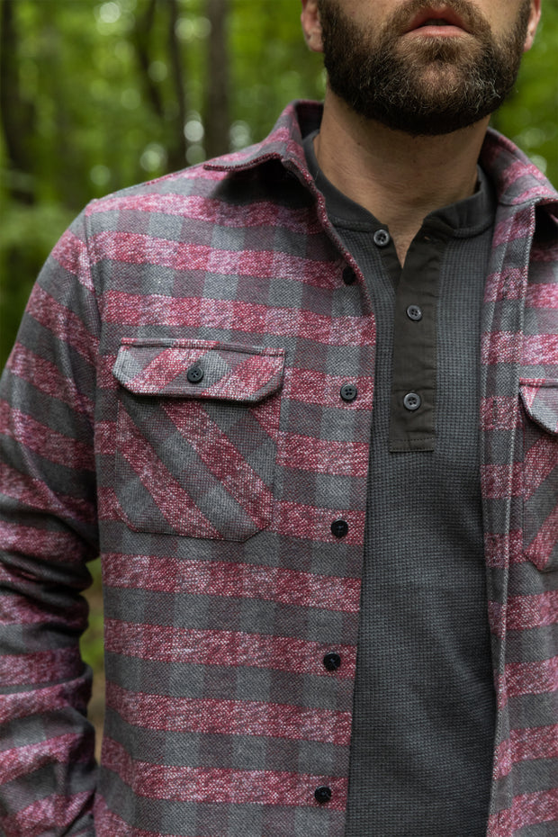 The Grand Flannel in Burgundy By MuskOx. Heavyweight Flannel. MuskOx Apparel The Grand Flannel, Burgundy, Red. 100% Cotton, Durable Flannel Shirt. Our flannels are made of a heavy duty cotton twill with a soft brushed finish so you can be prepared for any adventure without sacrificing comfort. Since we want you to be built for every occasion, we've included two secure chest pockets for you to bring your vitals along.