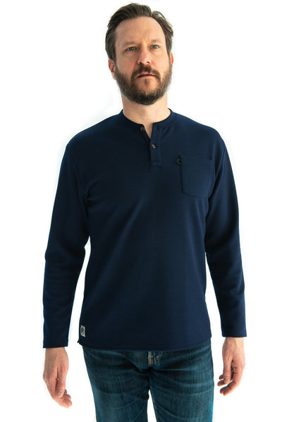 A classic outdoorsman look, Henley in Navy. Our Trek Henley offers a relaxed and warm fit when you're getting lost in adventure. We constructed this outdoor henley with sturdy double knit fabric so you don't have sacrifice comfort for durability. This henley comes with a chest pocket and bungee sunglasses loop.