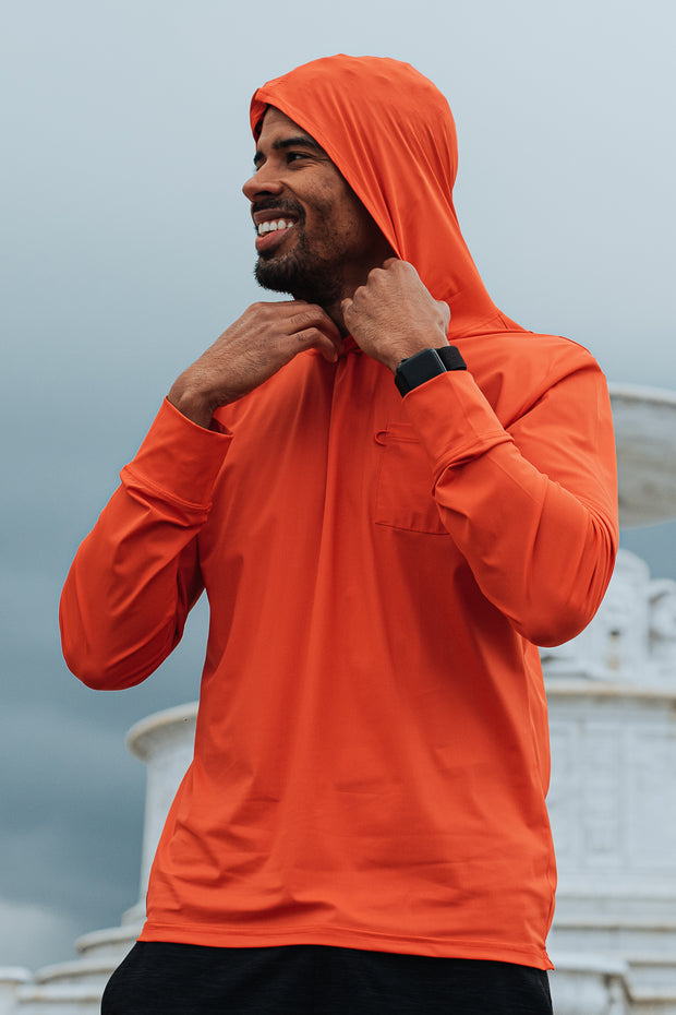 The Ultra Lightweight Charleston Performance Hoodie is a lightweight sun hoodie. The UV-blocking fabric wicks moisture away, dries quickly, and keeps your body temperature cool.The Ultra lightweight Charleston has thumbholes and a chest pocket with our bungee sunglasses loop to ensure you don't lose your shades.