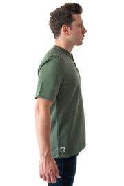 MuskOx Men's Outdoor Apparel, Short Sleeve Henley for backpacking and hiking. The Cross Country Henley offers a relaxed fit for serious adventure. It is constructed with our quick absorption and drying, super soft and sturdy knit fabric that wicks away moisture when you're on the move. This henley is designed with lightly padded shoulders for added weight protection, a chest pocket, and our signature sunglass bungee loop.
