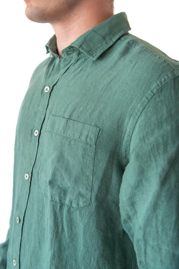 The Beckett Linen Shirt, Sage Green by MuskOx Apparel, 100% Linen Shirt. Our Beckett Linen Shirt is the perfect fit for the fall. Constructed with 100% Linen and garment dyed for an easy washed look. The Beckett is a great addition to any wardrobe for its versatility in the office (or a video call) to a casual day at the beach to date night.