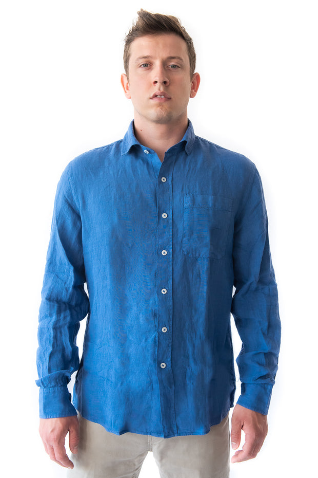 The Beckett Linen Shirt, Lake Blue by MuskOx Apparel, 100% Linen Shirt. Our Beckett Linen Shirt is the perfect fit for the fall. Constructed with 100% Linen and garment dyed for an easy washed look. The Beckett is a great addition to any wardrobe for its versatility in the office (or a video call) to a casual day at the beach to date night.