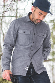 MuskOx Clothing The Yukon Flannel Shirt Jacket, Charcoal. Charcoal Flannel Shirt Jacket. 100% Cotton, Durable Flannel Shirt. Our flannels are made of a heavy duty cotton twill with a soft brushed finish so you can be prepared for any adventure without sacrificing comfort. Since we want you to be built for every occasion, we've included two secure chest pockets and side pockets for you to bring your vitals along.