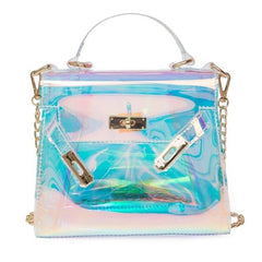 Women Messenger Handbag Clear Tote-Turquoise Chloe-Andari Jewelry and Accessories