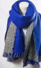 Women's Royal Blue Hounds-tooth Reversible Frayed Edge Scarf