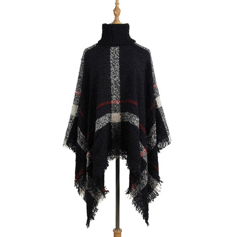 Women Turtleneck Knitting Ponchos Capes Sweater