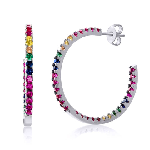 Candy Lover Rainbow Pave Swarovski Hoop Earrings