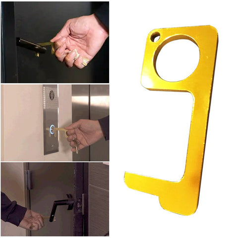 Hygienic Hand No Touch Aluminum Portable Door Opener, Pointer and Key-chain