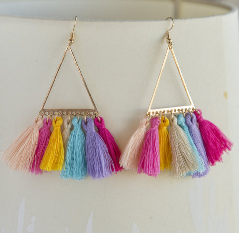 Rainbow Tassel Boho Earrings Long Statement