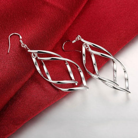 Silver Spiral Hook Earrings Set in 18K White Gold