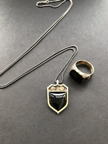 Men's Shield Signet Necklace Sterling Silver Black Onyx