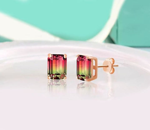 Emerald Cut Gemstone Stud Earrings