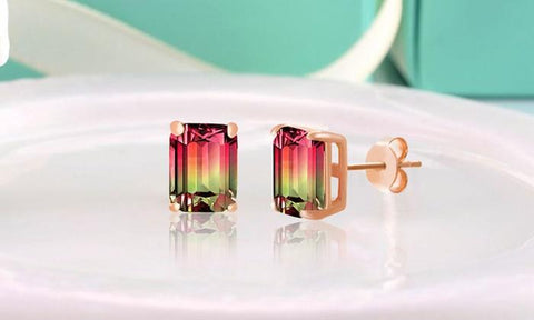 Emerald-Cut-Watermelon-Crystal-Stud-Earrings