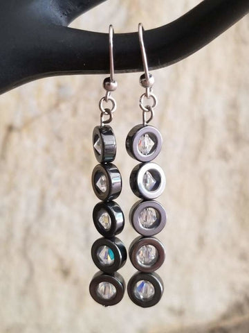 Hematite Hoop Bead Earrings