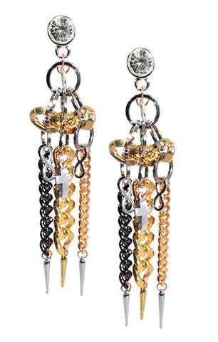 Swarovski handmade brass chain link earrings