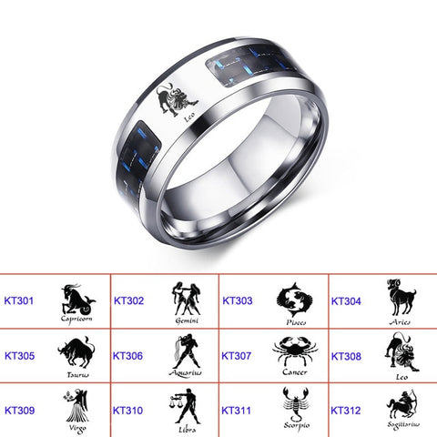 Men's Constellation Wolf Dragon Vicking Stainless Steel Ring