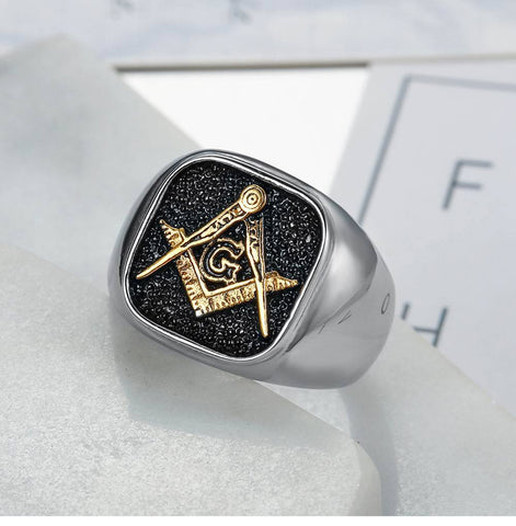 Men's  Black Vintage Freemasonry Stainless Steel Ring