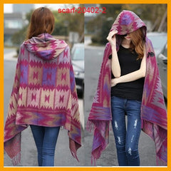 Women's Winter Cashmere Boho Hooded Poncho