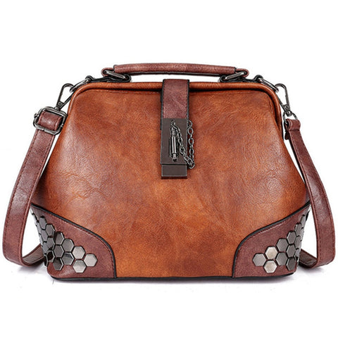 Women's Leather Doctor Handbag-Andari Jewelry and Accessories-Andari Jewelry and Accessories