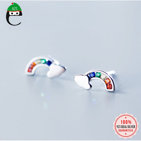 Rainbow CZ stud 925 sterling silver earrings