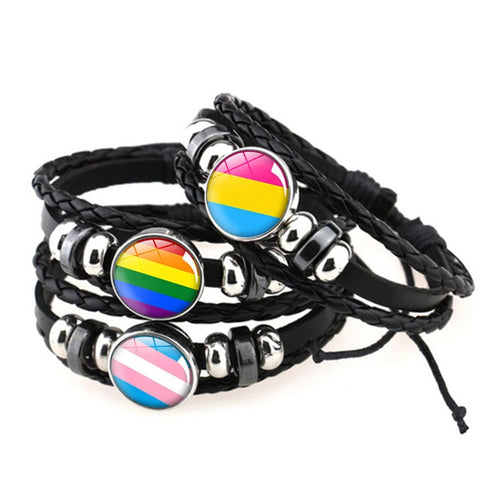 Gay Pride Rainbow Flag Glass Buckle Beaded Weave Black Leather LGBT Bracelet