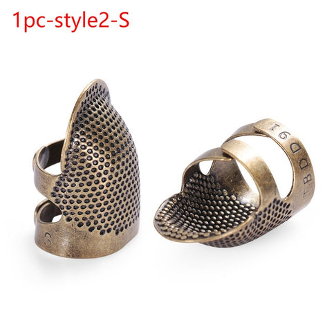 1/10pcs Vintage Gold Finger Protector Needle Thimble Antique Ring Handworking Metal Stitching Tool DIY Crafts Sewing Accessories