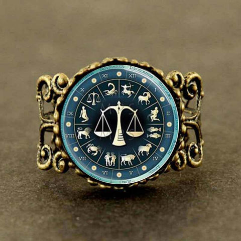 New Libra Zodiac Astrological Ring