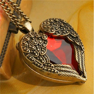 Vintage Heart Pendant Necklaces with Angel Wings and Red Crystal