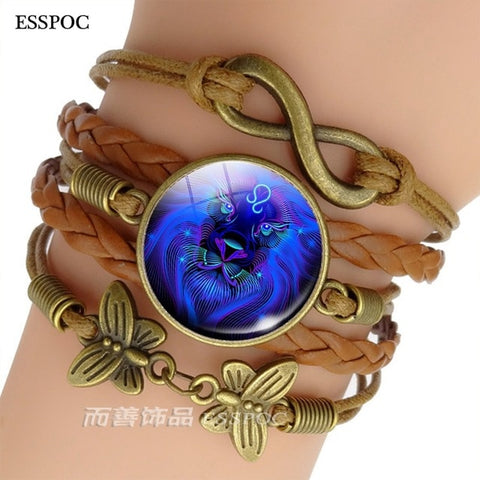 Zodiac Sign Woven Leather Bracelet-My Marketing Worx-Andari Jewelry and Accessories