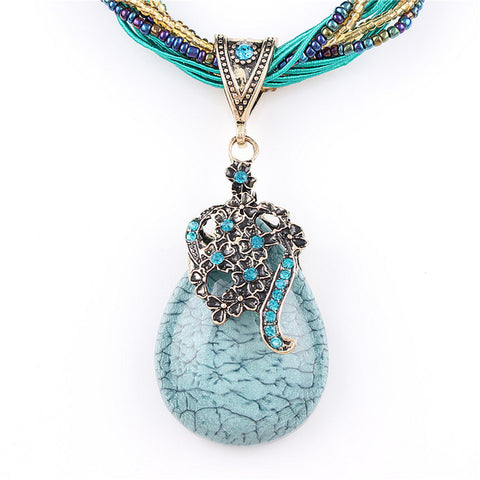 Blue Natural Crystal Stone Pendant Necklace