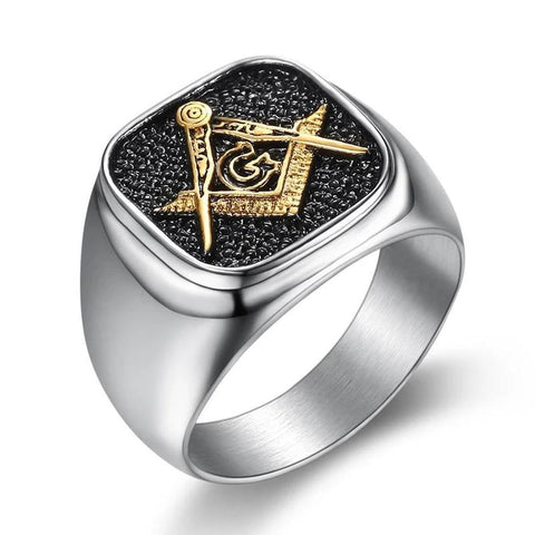 Men's -Black-Vintage-Freemasonry-Stainless-Steel-Ring