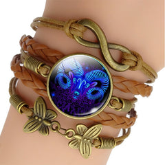 Zodiac-Sign-Woven-Leather-Bracelet