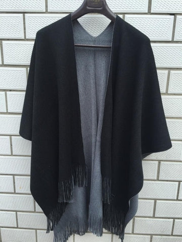 Women's Over-sized Reversible Winter Knitted Cashmere Poncho