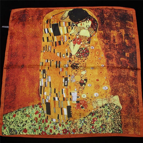 Women's Oil Painting Kiss Silk Bandanna Scarf