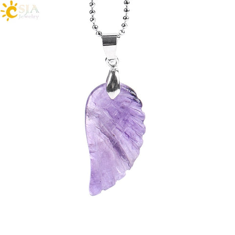 Natural Gem Stone Angel Wing Necklaces & Pendants