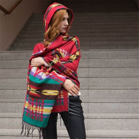Women's Winter Warm Plaid Cashmere Ponchos And Capes