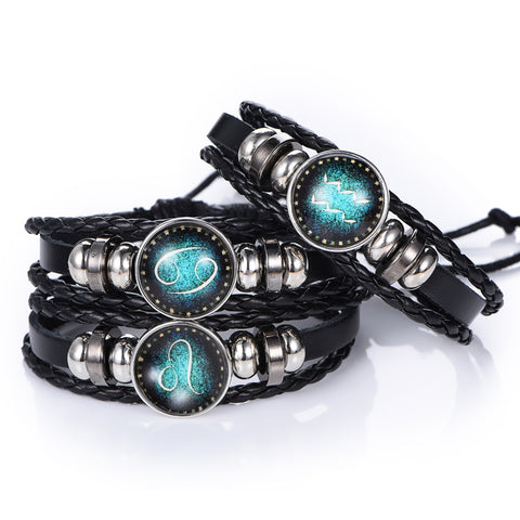 Zodiac-Sign-Leather-Punk-Bracelets