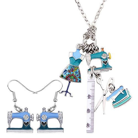 Retro Sewing Tool Necklace - Blue - Pendants