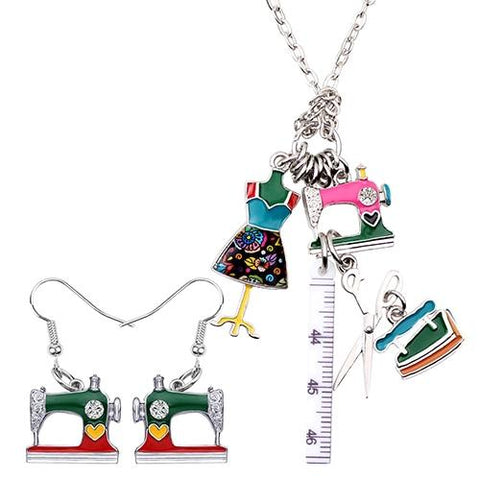 Retro Sewing Tool Necklace - Multicolor - Pendants